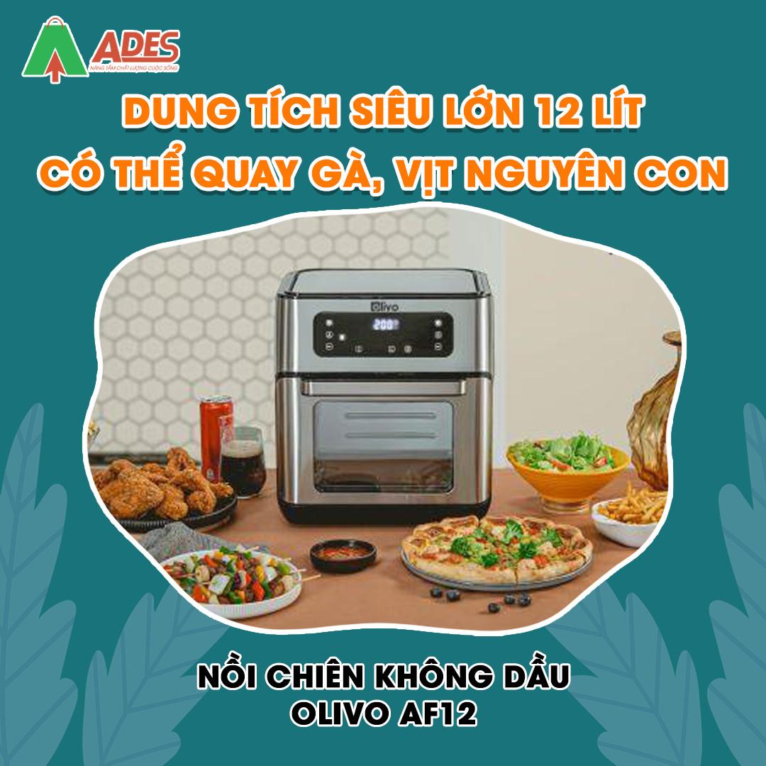 Noi Chien Khong Dau OLIVO AF 12 dung tich sieu lon 12 lit